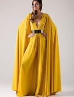 Wholesale Dubai Chiffon - 2017 Arabic Long Formal Evening Dresses with Cape Gold Sashes Sexy Deep V Neck Yellow Chiffon Muslim Dubai Kaftan Women Evening Gown