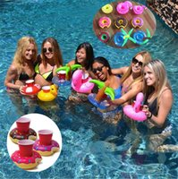 Wholesale Swimming Pools Inflatables - 2017 Summer Cute Drink Can Holder PVC Inflatable Floating Coconut Trees Swimming Pool Bathroom Beach Water Drink Holder 8 colors GC22