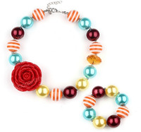 Wholesale Chunky Necklaces For Babies - Nice Promotion Item Fire Red Sun Flower Choker Necklace For Kids Girls Bubblegum Baby Toddler Chunky Bracelet Accessory Jewelry Sets
