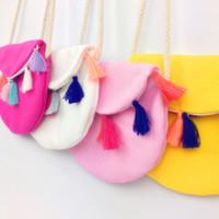ingrosso gadget per ragazze-4 colori per bambini Accessori colore nappina borsa a tracolla borsa gadget per bambini Nappine borsa a mano con logo