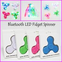 Wholesale Fingertips Music - New Bluetooth Music Hand Spinner 4 colors LED Light fidget Spinners Built in Bluetooth Speaker Fingertip LED spinners EDC toys