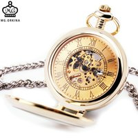 Antique orkina skeleton - ORKINA Vintage Men Women Mechanical Pocket Watches Skeleton Dial Half Hunter Transparent Stainless Steel Case Pendant Chain BOX