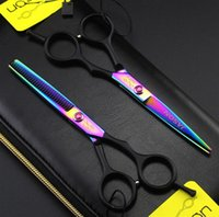 Wholesale Thinning Shears Black Hair - 5.5 Inch Hairdressing Scissors 62HRC Stainless Steel Purple Black Hair Cutting Thinning Shears 4Pcs Set With Comb Bag.