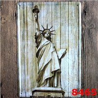 Wholesale Posters Eiffel Tower - Sign Painting Statue of Liberty Eiffel Tower Telephone Booth Vintage Craft Tin Wall Retro Metal Poster Bar Pub Signs Room Wall Art Sticker
