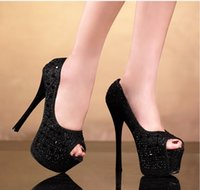 Wholesale Auger Pump - High heels and sexy fine summer with diamond set auger fish mouth mouth heels for women's shoes silver super high heels