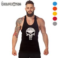 Wholesale Thin White Tank Tops Wholesale - Wholesale- New Punisher Skull Print Thin Straps Professional Fitness Tank Top Fashion Bodybuilding Cotton Vest Men Undershirt Tops 2016