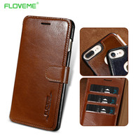 Wholesale Book Cover Pouch - FLOVEME-0016 Genuine Leather Phone Case For iPhone 7 7 Plus Book Case 6 6S Plus Flip Card Slots Real Leather Cover For iPhone 7 Capa