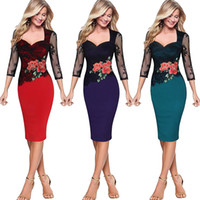elbise streç bodycon iş toptan satış-2017 Moda Kadın Elbise S-5XL Zarif Dantel Patchwork 3/4 Kollu Gül Nakış Streç Iş Ince Bodycon Kalem Midi Elbise
