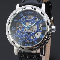 Wholesale Winner Mens Hand Wind Watches - Winner Skeleton Watch Mens Watches Blue Ocean Fashion Casual Designer Stainless Steel Men Top Brand Luxury Automatic Watch Clock