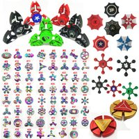 Wholesale New Led Rainbow Light - New LED Light Blue tooth Hand Spinners 120 types Fidget spinner toys Rainbow hand spinners Avengers Tri-Fidget Metal EDC Gyro OTH539