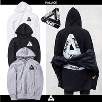 Wholesale Woman Clothes Classic - New PALACE men and women sports clothing Hoodie 2017 classic triangle with velvet cotton leisure Hoodie Size Black and white ash S-XXL