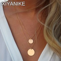 Großhandel-Aonani Double Layered Gold Sequin Double Strang Halskette, Layer Disc, Boho Halskette, Strand Schmuck XY-N505