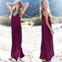 Sehr beliebt einteilige Maxi Kleider Europa und die Vereinigten Staaten  Sommer Frauen unregelmäßigen Riemen V-Ausschnitt Tasche lange Röcke 0a50362cc4