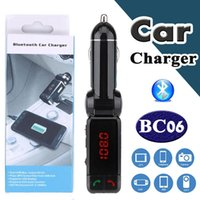 Wholesale Car Aux Mobile - Bluetooth Car Kit BC06 Wireless Car Speakerphone BT Hands Free Dual USB Car Charger 3.5mm AUX-IN FM Transmitter For Samsung iPhone Mobile