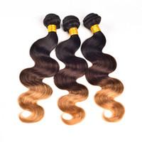 ombre bakire saç toptan satış-Ombre İnsan saç uzantıları üç ton # 1b / # 4 / # 27 brezilyalı bakire saç örgü 3 adet / grup brezilyalı İnsan saç ücretsiz kargo