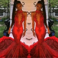 Wholesale halter feather dress - Red Halter Lace Appliques Prom Dresses 2k17 Mermaid Evening Gowns Sequined Feather Sweep Train Arabic Formal Party Dress Custom Made