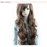 """Wholesale Long Curly Japan Wig - 28"""" Japan and Korean Fashion Synthetic Hair Piece Wavy Long Wigs Fluffy Curly Natural Hairpieces Brown Party Queen Wig Modelling"""