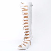 Wholesale Lady Shoes Images - White Peep Toe Lace-up Knee Boots For Women Hollow Out Summer Shoes Ladies 2017 New Real Images Back Zipper Plus Size 34-45