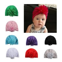 Wholesale India Flower - New Fashion Baby Hat Caps Europe Style Turban Knot Head Wraps India Hats Ears Cover Kids Children Chiffon Flower Bohemia Beanie BH48
