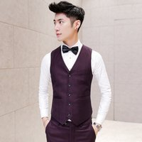 Wholesale Desinger Wedding Dresses - Wholesale- Men Suit Vest Wedding Slim FIt Burgundy Sleeveless Jacket Waistcoat Colete Masculino Dress Vests for Men Korean Desinger Vest