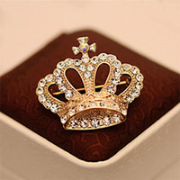 Grossiste-Hot Broches Femmes Cristal Plaqué Or Couronne Impression Broches Broche Bijoux Fashion Mode