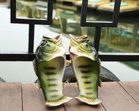 Wholesale Soft Fish Style - Emulational Fish Style 2017 Creative fish slippers handmade Women's men's bass sandals EVR Non-slip beach shoes Personality fish sandals