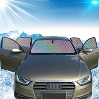 Wholesale Sunscreen Foil - Car foldable sunshade front windshield shades sunscreen cartoon 130*70CM car foil sun block Auto Accessories