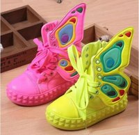 Wholesale Top Shoes For Baby - 2017 new brand fashion children sneakers high-top wings canvas girls shoes for kids spring autumn shoes for baby boys