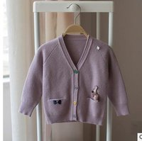 Wholesale Bunny Sweater Girls - Toddler Kids knitting sweaters baby girls Bunny cartoon patch cardigan sweater children single-breasted outwear Kids clothing G0850