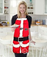 Wholesale Bibs Santa Claus - Santa Claus Ho Ho Ho Red Bib Apron Christmas Dressing Decorations Holiday Party Dinner Costume Kitchen 50*70cm Polyester Fabric Gift