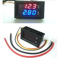 indicador azul digital al por mayor-Coche DC 0V-100V 10A Voltímetro Amperímetro Azul + Rojo LED Amp Pantalla Dual Digital Medidor de Voltaje Medidor Voltaje Ampe al por mayor