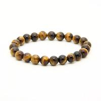 Wholesale elastic stone ring - Wholesale 10pcs lot Mix Colors 8mm Good Quality Tiger Eye, Dalmatian Jasper, Matte Agate Stone Energy Elastic Beaded Bracelets