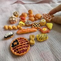 Wholesale 23PCS Resin Kawaii Bread Fake Miniature Butter Breads Dollhouse Hair Bow Center Phone Deco DIY Cabochon Food