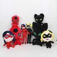 videos para gatos al por mayor-15 cm - 30 cm y mariquita Gato Noir Juguetes muñeca de juguete Señora Bug Adrien Marinette Plagg Tikki muñeca de la felpa