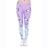 Wholesale Tight Ladies Trousers - Girl Leggings Unicorn Sweets 3D Graphic Print Women Skinny Stretchy Pants Lady Tight Capris Colorful Pattern Fitness Yoga Trousers (J43866)