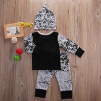 bebek batman kıyafetleri toptan satış-Yenidoğan Bebek Erkek Batman giyim seti çocuklar çocuk butik Giyim Uzun Kollu pamuklu Tişört harem Pantolon Kıyafetler şapka 0-18 M ücretsiz kargo