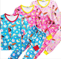 Wholesale Animal Pajama Suits - moana Cartoon Suits Girls Pajamas Sets pants Sleeve T-shirt maui Kids Pajama Sleepwear Clothing Set Tracksuits Pajamas Sleepwear KKA2377