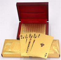 ingrosso carte blu di base-Carte da gioco di lamina d'oro Carte da poker placcate oro Texas Hold'em Poker Divertente regalo di Pokerstars per il tempo libero di sport di alta qualità