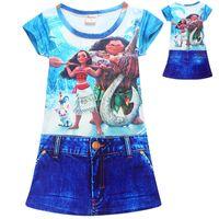 Wholesale Bohemian Denim Skirts - Moana Girls Denim Skirt One-Piece Dresses Two-sided Print Beauty and the Beast Short Sleeve Dresses Moana Cartoon 4-10T