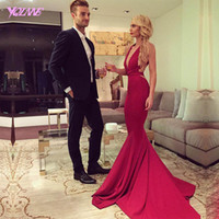 Wholesale New Dresses Back Design - New Design 2017 Fashion Red Mermaid Prom Dresses Backless Women Evening Gown Straps Cross Sweep Train Custom Made