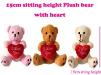 "Wholesale Love Doll Foot - 15cm(6"") INS Xmas Miniature Tiny Small Plush Teddy Christmas Bear Love With Heart on Foot Christmas Doll Gift Baby Shower"