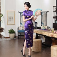 Wholesale Traditional Chinese Dress Purple - JX208 Free Shipping Chinese traditional Clothing Long Qipao Dress Folk style Faux Silk cheongsam Oriental Dress 6 Color