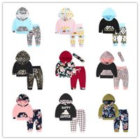 Wholesale Infant Leopard Leggings - Infant Clothes Flower Baby Cartoon Clothing Sets Newborn Baby Boy Girl Clothes Hooded Tops + Pants Leggings + Headbands 2pcs Outfits