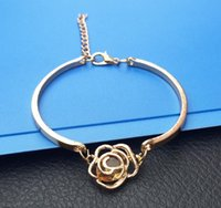Wholesale Camellia Bangle - NEW Fashion Rose Flower Hollow out camellia zircon bracelets Trendy Rose Gold Zircon Fashion Charm Jewelry Bracelet For Women AA135