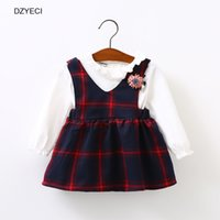 Wholesale Wholesale Plaid School Uniforms - Autumn Winter Baby Girl Dress Clothes Back To School Uniform Fashion Kid Plaid Flower Party Princess Frock Children Clothing Costume