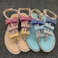 Wholesale Bow Pink Flat Back - 2017 summer new RC big women's shoes diamond bow flat sandals female summer clip feet exposed toe pink sandals