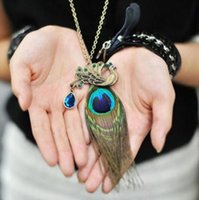 Wholesale Necklace Feathers Gold Long - Retro Beautiful Peacock feathers Pendant necklace Alloy Crystal Peacock sweater Long chain Necklaces Jewelry for Women