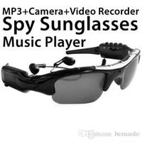 Wholesale Dv Mp3 Sunglasses - Hot 3in1 smart glasses video MP3 sunglasses DV 32G TF card Men Women MP3 camera glasses work 5-6 hours birthday gift factory cost free