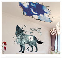 Wholesale Deer Wall Stickers Decal - Forest Animals Wall Sticker Decor DIY Wallpaper Art Decals Deer Wolf Moon for Bedroom Room Home Decoration