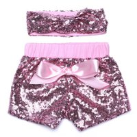 Wholesale New Factory Design - 2017 Baby girls fashion sequin short new designs shorts with sequin headband factory price as hotcakes